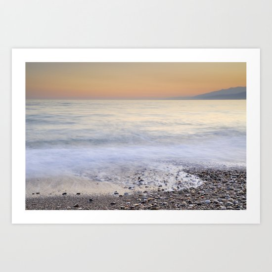 Soft waves. Sunset Art Print
