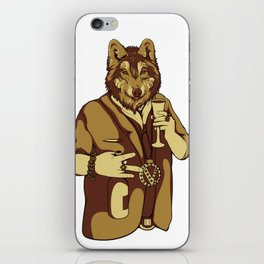 Sophisticated Wolf - having a drink iPhone Skin
