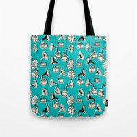 subway Tote Bags featuring NY Subway by Prelude Posters