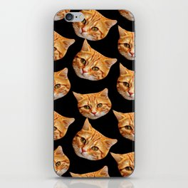 cute black and orange cat pattern iPhone Skin