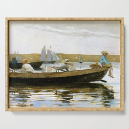 Winslow Homer1 - Boys In A Dory - Digital Remastered Edition Serving Tray