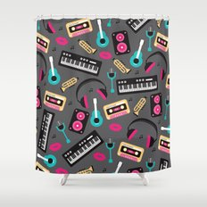 Jazz music instruments and sounds pattern Shower Curtain