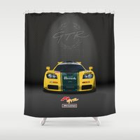 f1 Shower Curtains featuring 1995 McLaren F1 GTR Le Mans - Harrods Livery by vsixdesign