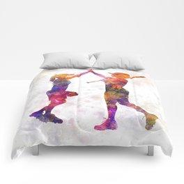 women playing softball 01 Comforters