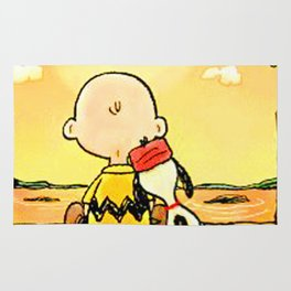 Snoopy and Charlie Look Sunset Rug