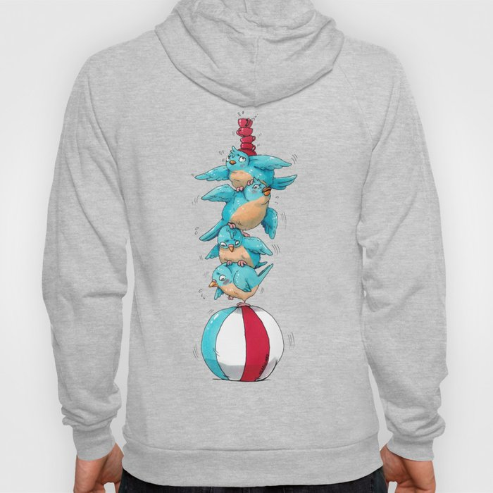 Blue Birds Balancing Boiling Beverages on a Beach Ball Hoody