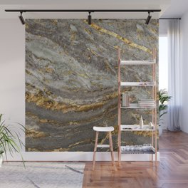 GOLD MINE Gray-Gold Marble Stone Pattern  Wall Mural