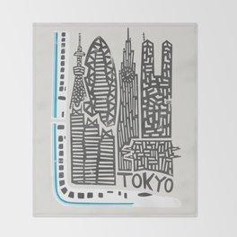 Tokyo Cityscape Throw Blanket