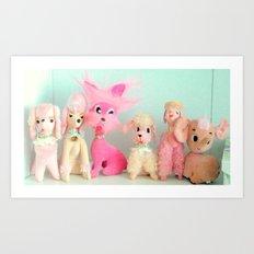 pink poodle club Art Print
