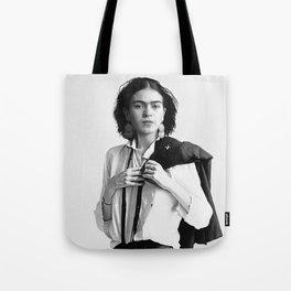 Frida Kahlo Wearing White Shirt Tote Bag