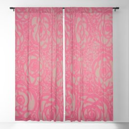 Hot Pink Rose Bed Print Blackout Curtain