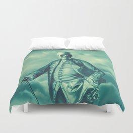 Lord Bonehead VINTAGE GREEN / Skeleton portrait Duvet Cover