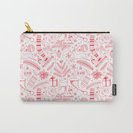 Doodle Christmas pattern red Carry-All Pouch