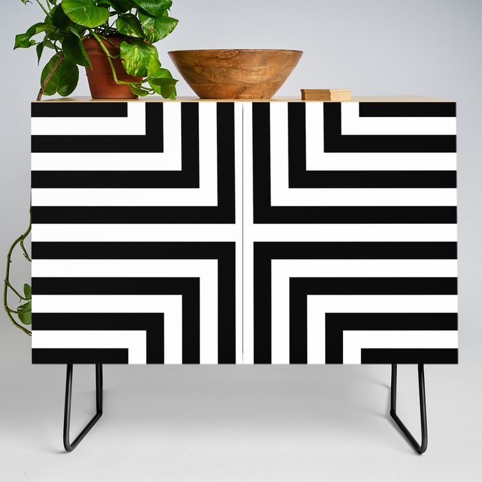 Modern Credenza Cupboard | Simple Geometric Cross Pattern - White On Black - Mix & Match With Simplicity Of Life by Art By Simplicity Of Life - Black