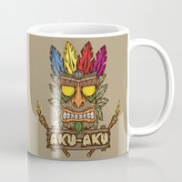 playstation Mugs featuring Aku-Aku (Crash Bandicoot) by Pancho the Macho