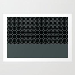 Black Square Petal Pattern on PPG Night Watch Pewter Green Art Print