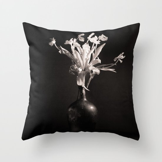 Old White Tulips Throw Pillow