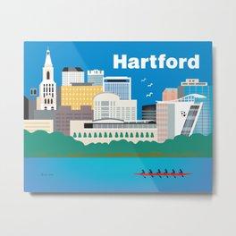 Hartford, Connecticut - Skyline Illustration by Loose Petals Metal Print