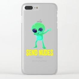 Dabbing Alien Send Nudes Clear iPhone Case