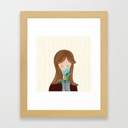 Girl With Flowers Girl With Tulips Framed Art Print