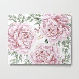 Girly Pastel Pink Roses Garden Metal Print