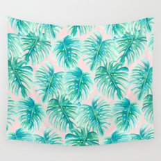 Paradise Palms Blush Wall Tapestry