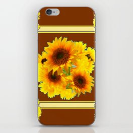 CHOCOLATE BROWN YELLOW SUNFLOWER BOUQUETS iPhone Skin