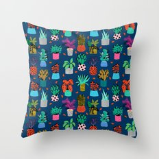 Check It - house plants indoor monstera neon bright modern pattern retro throwback memphis style Throw Pillow
