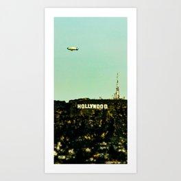 Hollywood Sign with Blimp Art Print