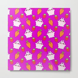 Cute funny Kawaii pink little baby bunnies, happy orange carrots and ripe juicy summer strawberries adorable magenta fruity pattern design. Nursery decor ideas. Metal Print