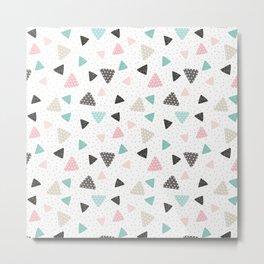 Geometrical pastel color triangles polka dots pattern Metal Print