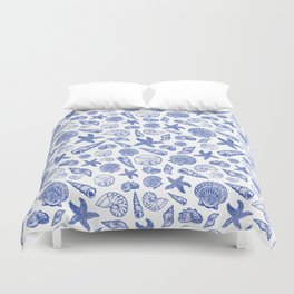 Blue Seashell Print Duvet Cover