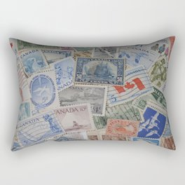 Canadian Pride Vintage Postage Stamp Collection From Canada Rectangular Pillow