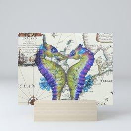 Blue Seahorse Kiss Mini Art Print