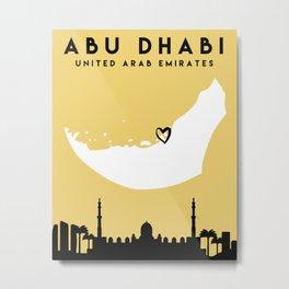 ABU DHABI UAE LOVE CITY SILHOUETTE SKYLINE ART Metal Print