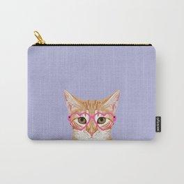 Mackenzie - Orange Tabby Cute Hipster Glasses Kitten Lavender Pastel Girly Retro Cat Art cell phone Carry-All Pouch