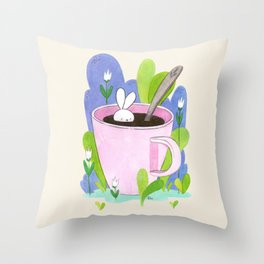 Cup o Bunny Throw Pillow