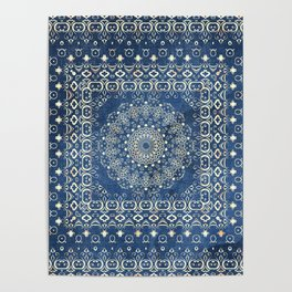 Old Bookshop Magic Mandala in Blue Poster