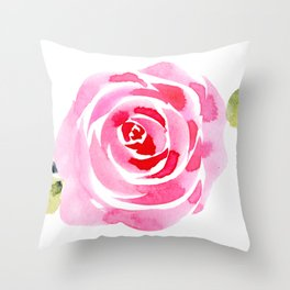 Single Rose, Watercolor Throw Pillow