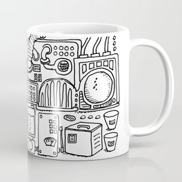 Machine room, coloring page, illustration, steampunk, black and white Coffee Mug