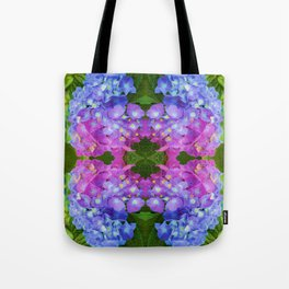 BLUE & PINK HYDRANGEAS GARDEN ABSTRACT FLORAL Tote Bag