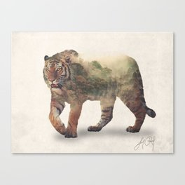 Tiger (Double Exposure Animal Portrait) Canvas Print