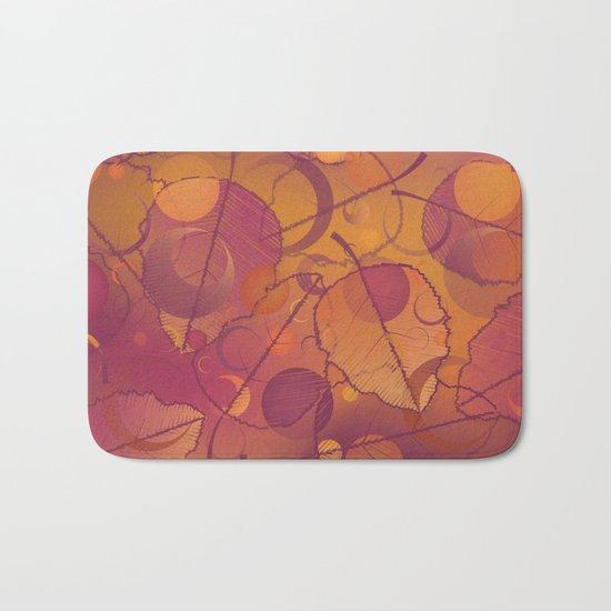 Floating Leaves Pattern III - Autumn, Pink Violet Bath Mat