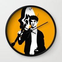 darren criss Wall Clocks featuring Darren Criss with guitar! by byebyesally