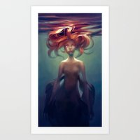 mermaid Art Prints featuring Mermaid by loish