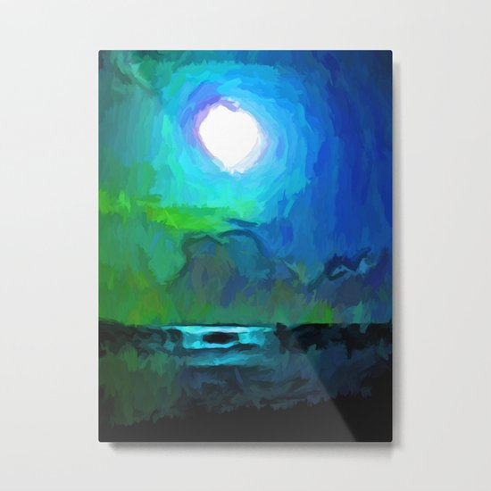Moon in a Blue and Green Sky and on the Sea 1 Metal Print