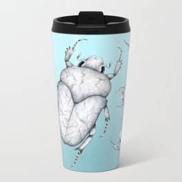 White Marble Beetle on Blue Background Metal Travel Mug