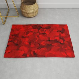 Rich Scarlet Red Gradient Abstract Rug