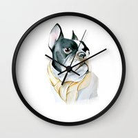 french bulldog Wall Clocks featuring French Bulldog by Dr.Söd