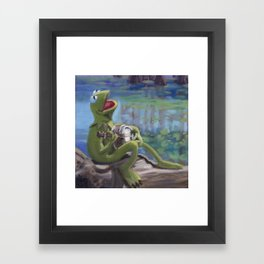 Banjo Playing Frog Framed Art Print